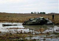 Танк Леопард завяз в грязи