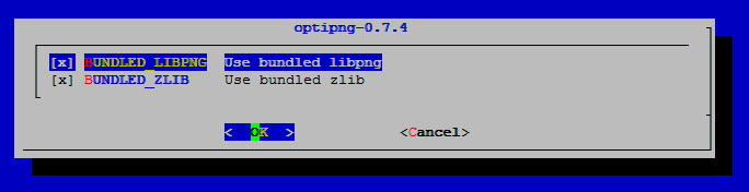 OptiPNG опции сборки
