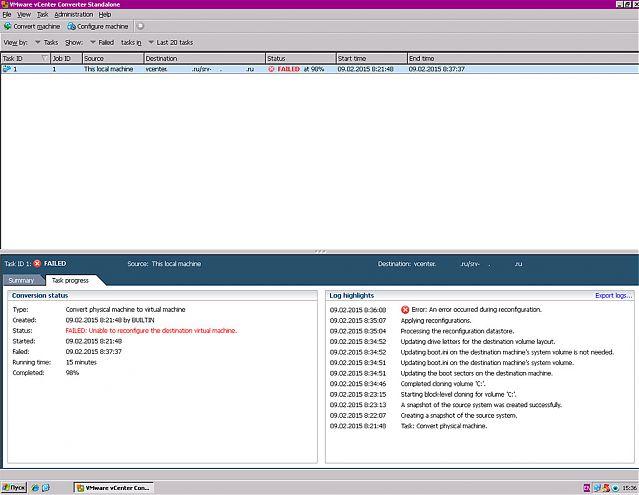 VMware converter Error occurred during reconfiguration