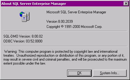 Версия MS SQL Server